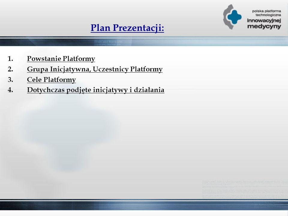 Plan Prezentacji: 1.Powstanie Platformy 2.Grupa Inicjatywna, Uczestnicy Platformy 3.Cele Platformy 4.Dotychczas podjęte inicjatywy i działania