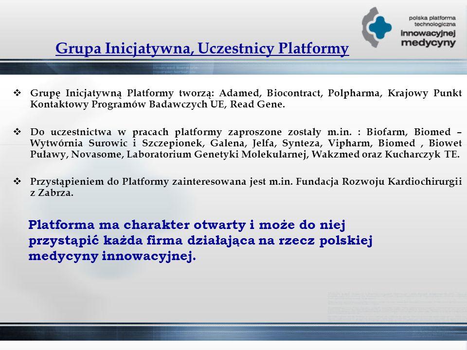 Grupa Inicjatywna, Uczestnicy Platformy  Grupę Inicjatywną Platformy tworzą: Adamed, Biocontract, Polpharma, Krajowy Punkt Kontaktowy Programów Badawczych UE, Read Gene.