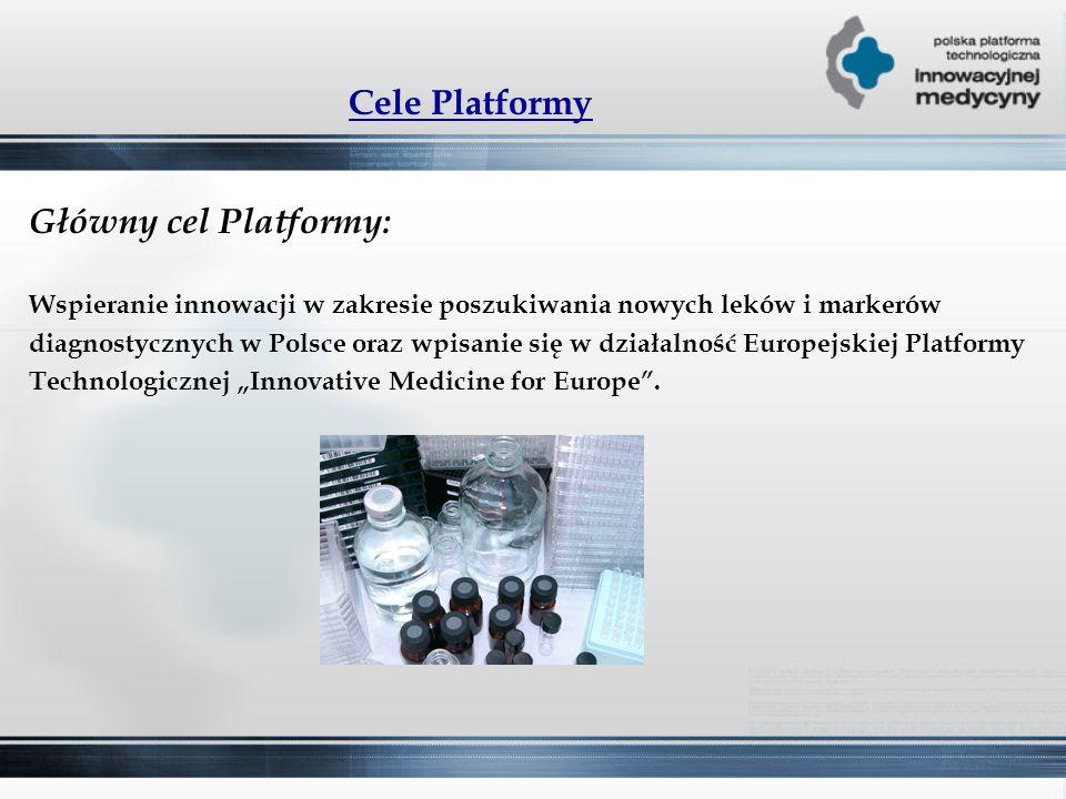 """Cele Platformy Główny cel Platformy: Wspieranie innowacji w zakresie poszukiwania nowych leków i markerów diagnostycznych w Polsce oraz wpisanie się w działalność Europejskiej Platformy Technologicznej """"Innovative Medicine for Europe ."""