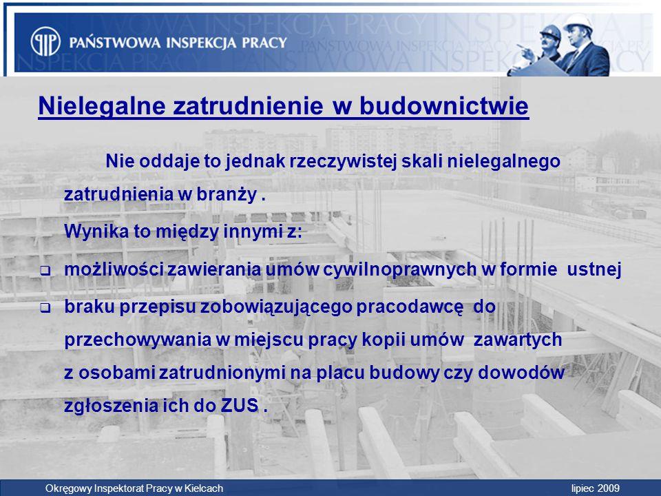 Okręgowy Inspektorat Pracy w Kielcach lipiec 2009 Nielegalne zatrudnienie w budownictwie Nie oddaje to jednak rzeczywistej skali nielegalnego zatrudni