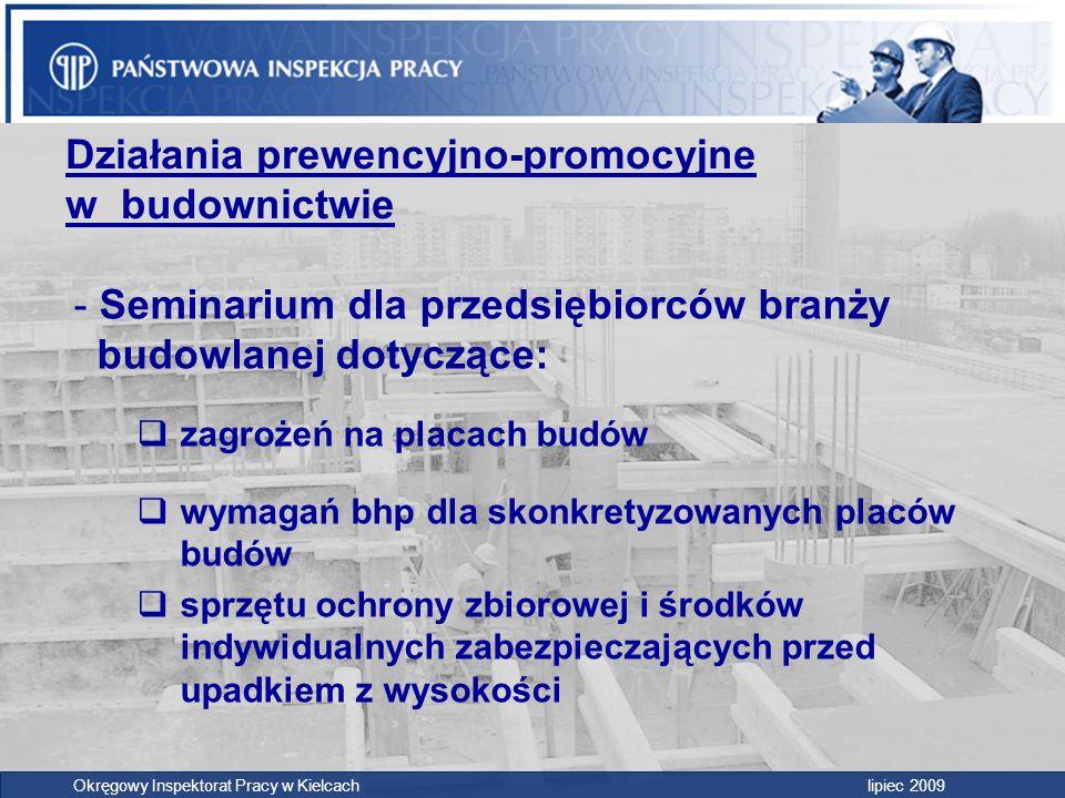 Działania prewencyjno-promocyjne w budownictwie - Seminarium dla przedsiębiorców branży budowlanej dotyczące:  zagrożeń na placach budów  wymagań bh