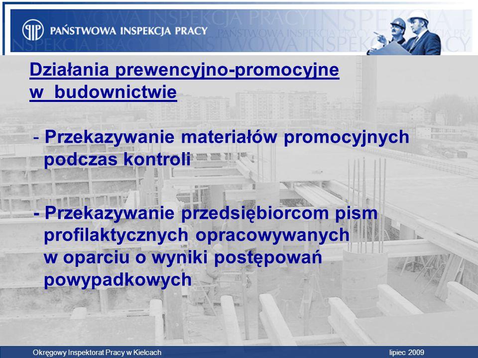 Działania prewencyjno-promocyjne w budownictwie - Przekazywanie materiałów promocyjnych podczas kontroli - Przekazywanie przedsiębiorcom pism profilak