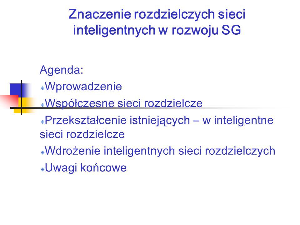 Znaczenie rozdzielczych sieci inteligentnych w rozwoju SG Agenda: Wprowadzenie Współczesne sieci rozdzielcze Przekształcenie istniejących – w inteligentne sieci rozdzielcze Wdrożenie inteligentnych sieci rozdzielczych Uwagi końcowe