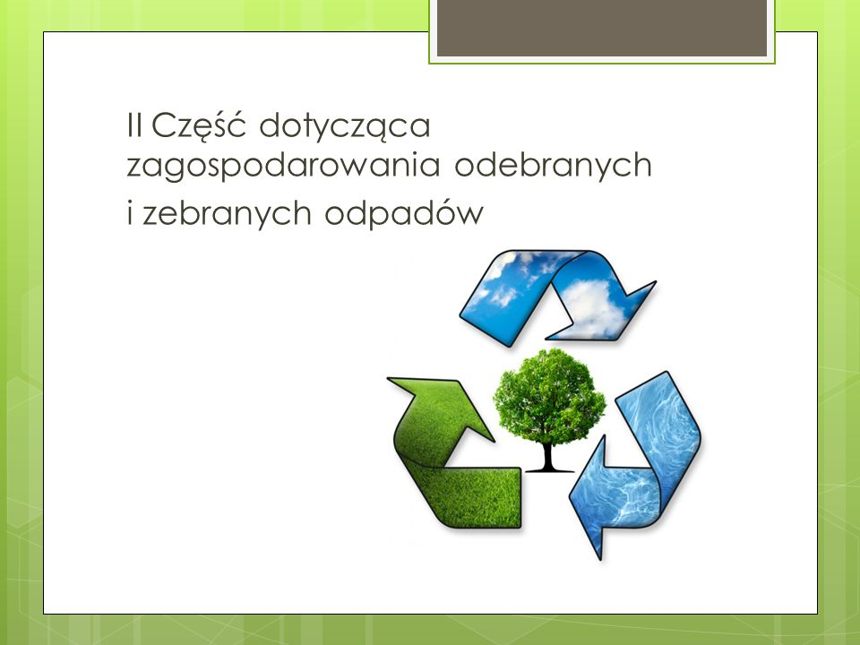 II Część dotycząca zagospodarowania odebranych i zebranych odpadów