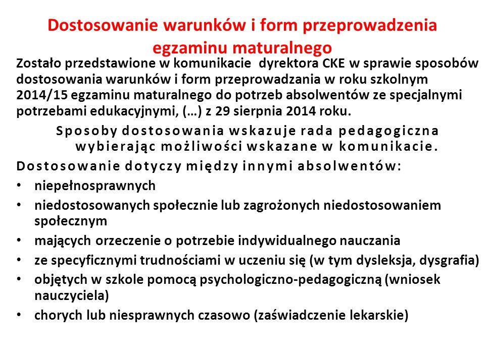 Zostało przedstawione w komunikacie dyrektora CKE w sprawie sposobów dostosowania warunków i form przeprowadzania w roku szkolnym 2014/15 egzaminu mat