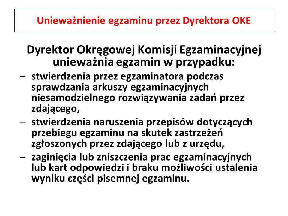 Dyrektor Okręgowej Komisji Egzaminacyjnej unieważnia egzamin w przypadku: –stwierdzenia przez egzaminatora podczas sprawdzania arkuszy egzaminacyjnych