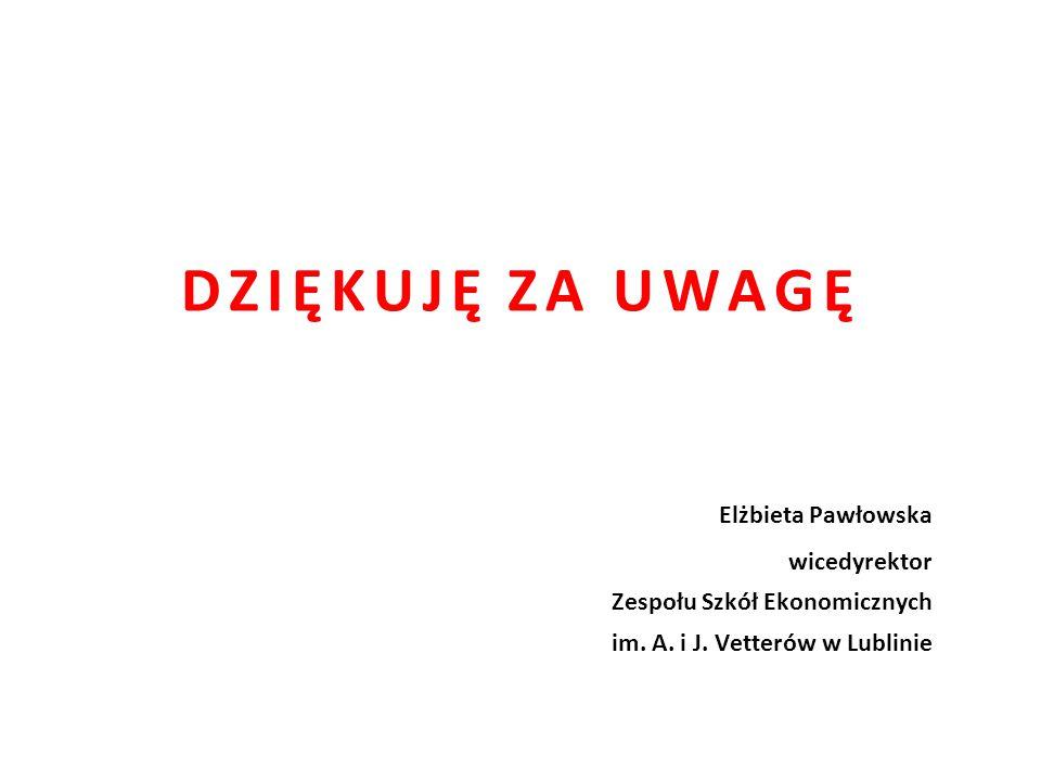 DZIĘKUJĘ ZA UWAGĘ Elżbieta Pawłowska wicedyrektor Zespołu Szkół Ekonomicznych im. A. i J. Vetterów w Lublinie