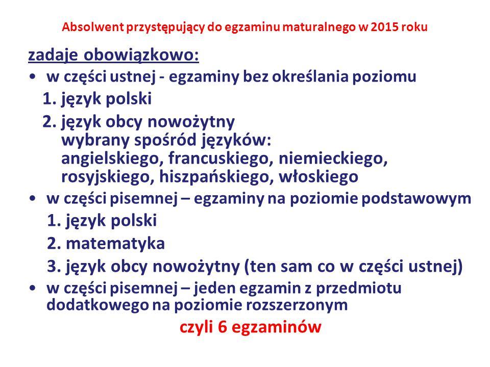 mioty obowiązkowe zadaje obowiązkowo: w części ustnej - egzaminy bez określania poziomu 1.język polski 2.język obcy nowożytny wybrany spośród języków: