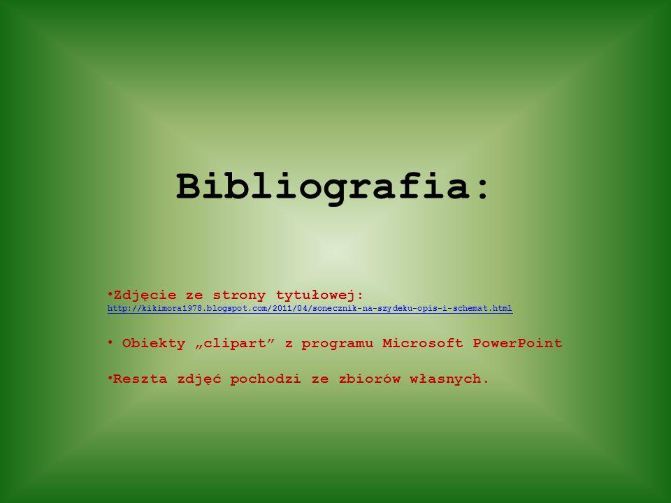 """Bibliografia: Zdjęcie ze strony tytułowej: http://kikimora1978.blogspot.com/2011/04/sonecznik-na-szydeku-opis-i-schemat.html Obiekty """"clipart"""" z progr"""