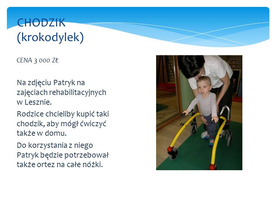 CENA 3 000 ZŁ Na zdjęciu Patryk na zajęciach rehabilitacyjnych w Lesznie. Rodzice chcieliby kupić taki chodzik, aby mógł ćwiczyć także w domu. Do korz
