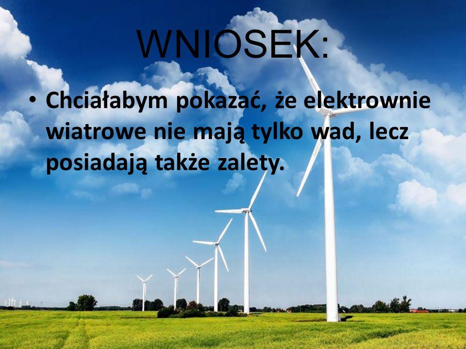 WNIOSEK: Chciałabym pokazać, że elektrownie wiatrowe nie mają tylko wad, lecz posiadają także zalety.