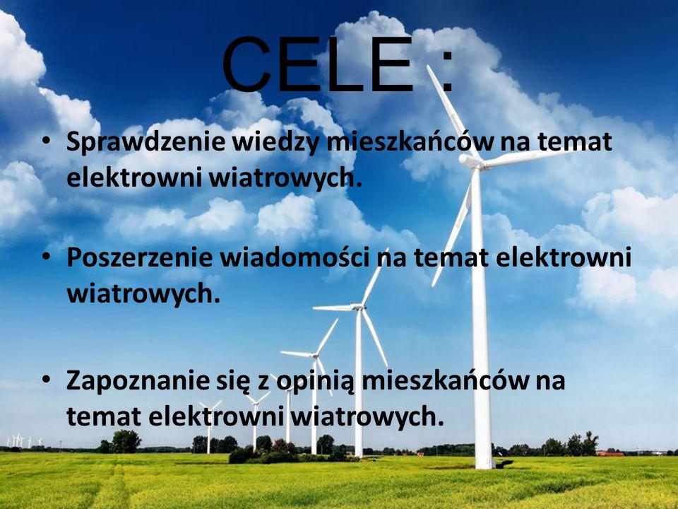 CELE : Sprawdzenie wiedzy mieszkańców na temat elektrowni wiatrowych. Poszerzenie wiadomości na temat elektrowni wiatrowych. Zapoznanie się z opinią m