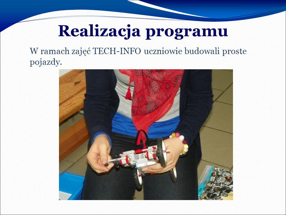 Realizacja programu W ramach zajęć TECH-INFO uczniowie budowali proste pojazdy.