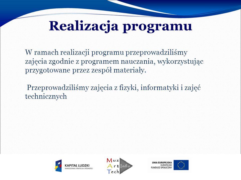 W ramach realizacji programu przeprowadziliśmy zajęcia zgodnie z programem nauczania, wykorzystując przygotowane przez zespół materiały.