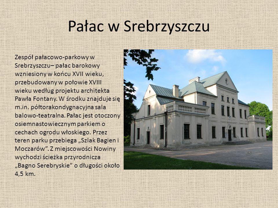 Pałac w Srebrzyszczu Zespół pałacowo-parkowy w Srebrzyszczu– pałac barokowy wzniesiony w końcu XVII wieku, przebudowany w połowie XVIII wieku według p