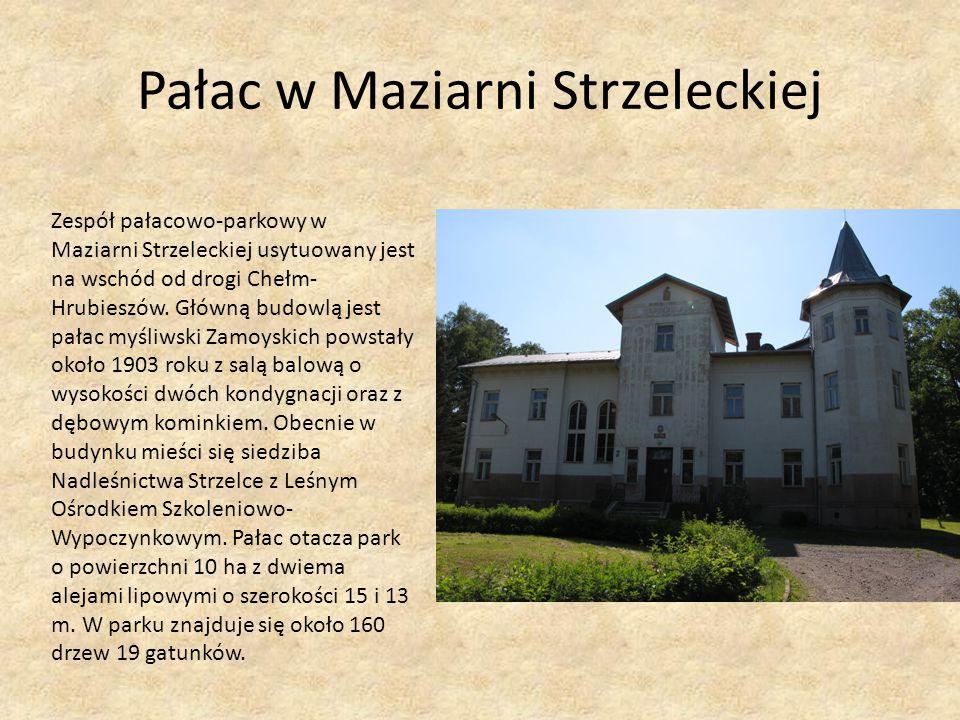 Pałac w Maziarni Strzeleckiej Zespół pałacowo-parkowy w Maziarni Strzeleckiej usytuowany jest na wschód od drogi Chełm- Hrubieszów. Główną budowlą jes