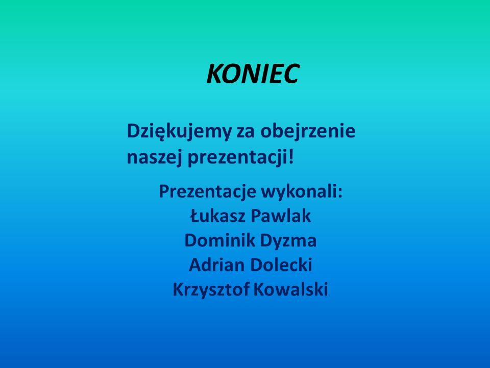 KONIEC Prezentacje wykonali: Łukasz Pawlak Dominik Dyzma Adrian Dolecki Krzysztof Kowalski Dziękujemy za obejrzenie naszej prezentacji!