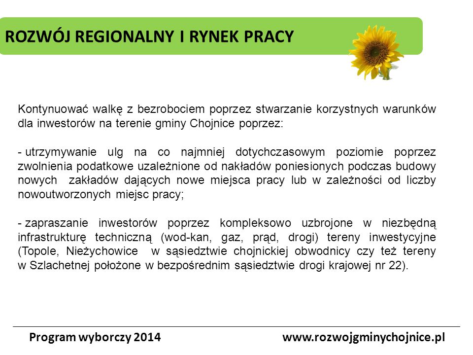 ROZWÓJ REGIONALNY I RYNEK PRACY Program wyborczy 2014www.rozwojgminychojnice.pl Kontynuować walkę z bezrobociem poprzez stwarzanie korzystnych warunkó
