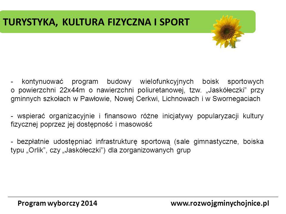 TURYSTYKA, KULTURA FIZYCZNA I SPORT Program wyborczy 2014www.rozwojgminychojnice.pl - kontynuować program budowy wielofunkcyjnych boisk sportowych o p