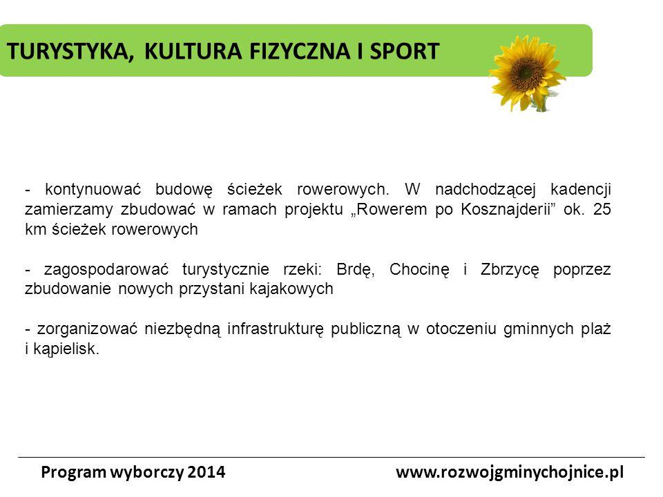 TURYSTYKA, KULTURA FIZYCZNA I SPORT Program wyborczy 2014www.rozwojgminychojnice.pl - kontynuować budowę ścieżek rowerowych. W nadchodzącej kadencji z