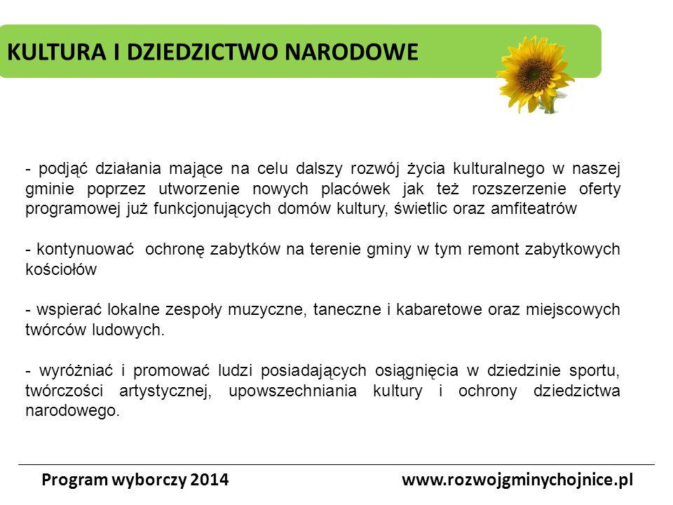 KULTURA I DZIEDZICTWO NARODOWE Program wyborczy 2014www.rozwojgminychojnice.pl - podjąć działania mające na celu dalszy rozwój życia kulturalnego w na