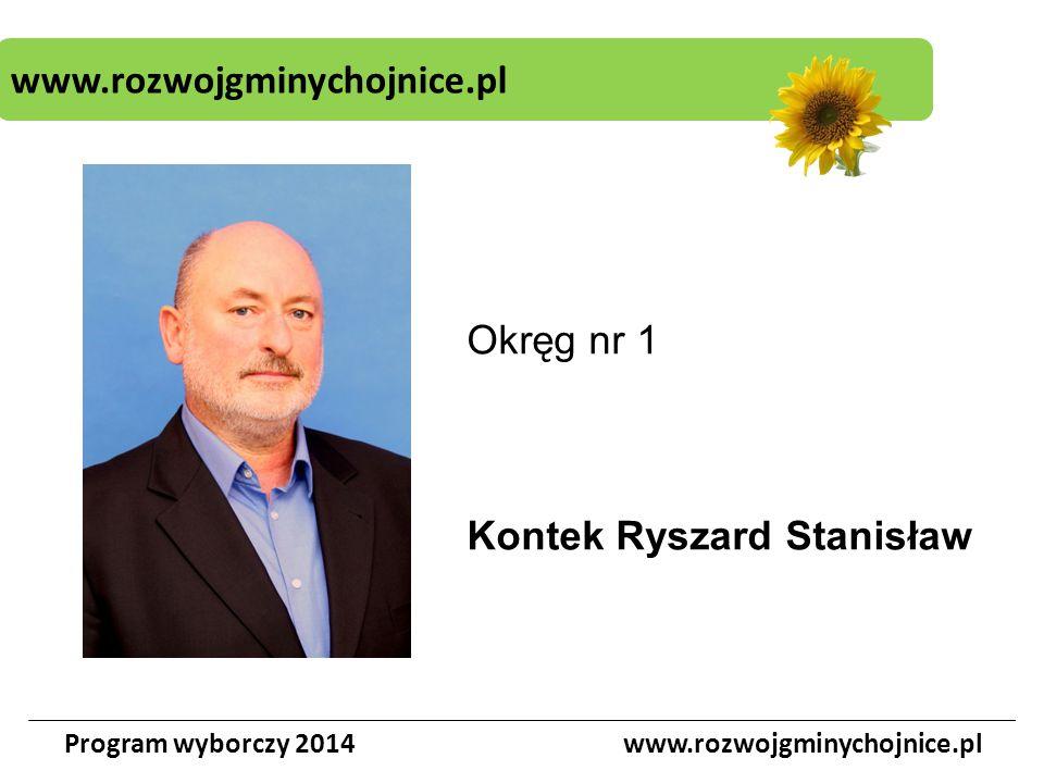 www.rozwojgminychojnice.pl Program wyborczy 2014www.rozwojgminychojnice.pl Okręg nr 1 Kontek Ryszard Stanisław