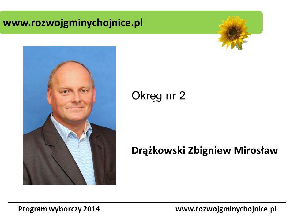 www.rozwojgminychojnice.pl Program wyborczy 2014www.rozwojgminychojnice.pl Okręg nr 2 Drążkowski Zbigniew Mirosław