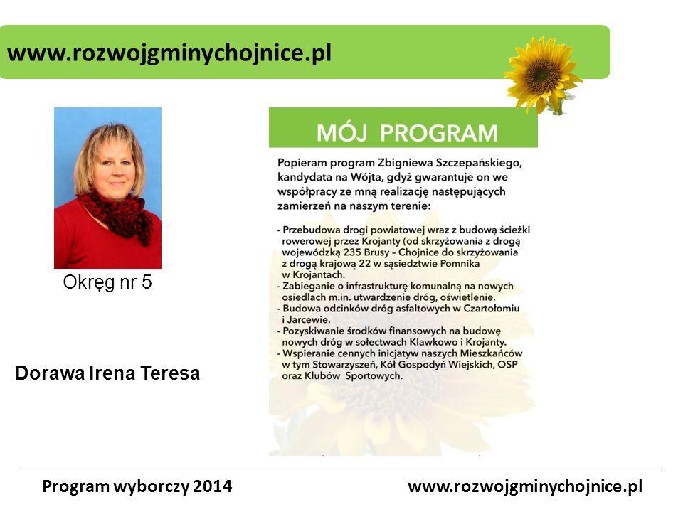 www.rozwojgminychojnice.pl Program wyborczy 2014www.rozwojgminychojnice.pl Okręg nr 5 Dorawa Irena Teresa