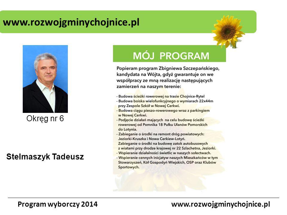 www.rozwojgminychojnice.pl Program wyborczy 2014www.rozwojgminychojnice.pl Okręg nr 6 Stelmaszyk Tadeusz