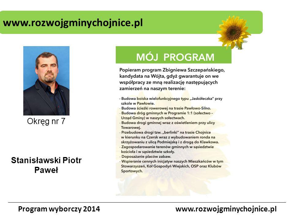 www.rozwojgminychojnice.pl Program wyborczy 2014www.rozwojgminychojnice.pl Okręg nr 7 Stanisławski Piotr Paweł