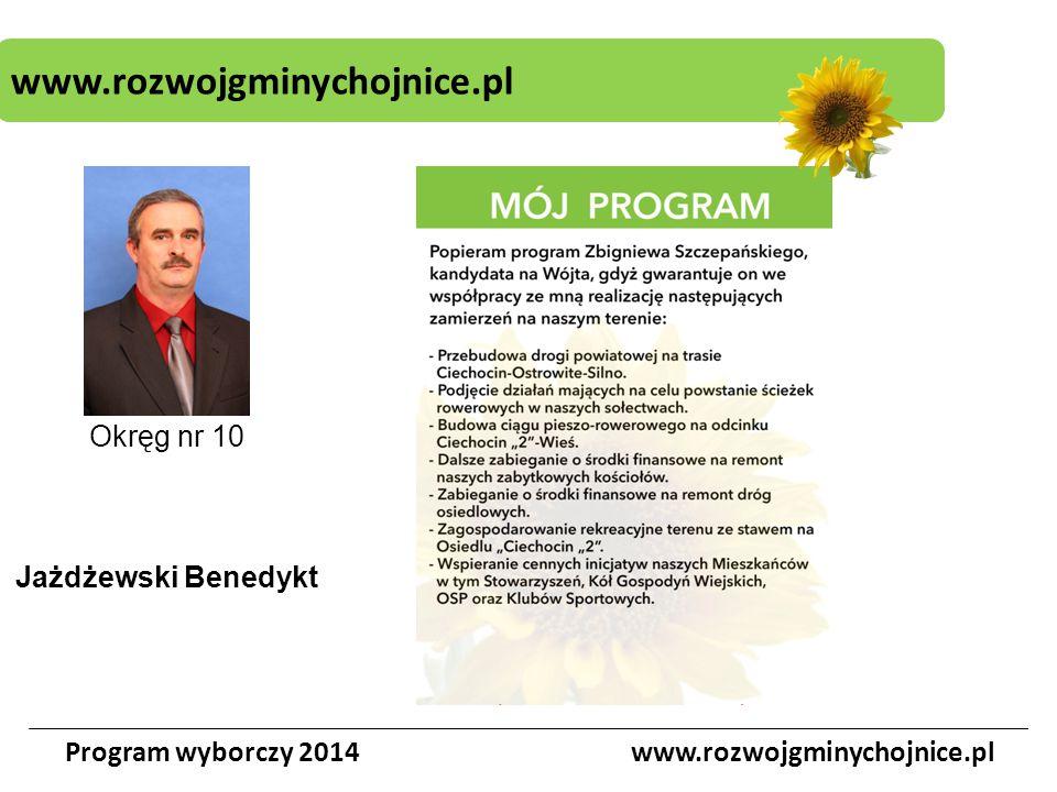 www.rozwojgminychojnice.pl Program wyborczy 2014www.rozwojgminychojnice.pl Okręg nr 10 Jażdżewski Benedykt