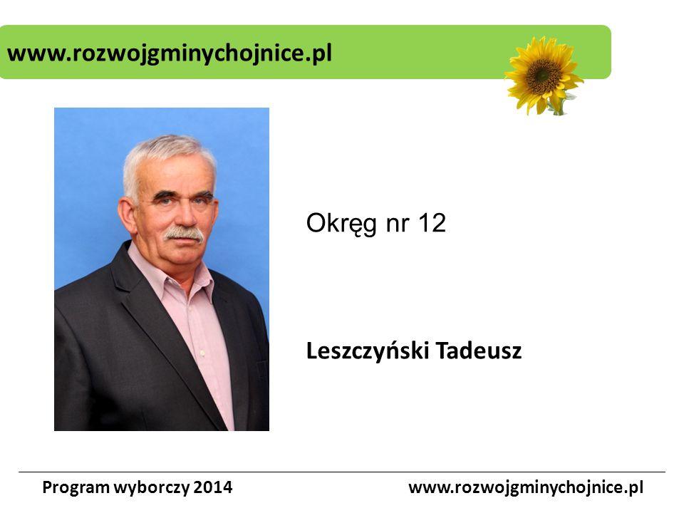 www.rozwojgminychojnice.pl Program wyborczy 2014www.rozwojgminychojnice.pl Okręg nr 12 Leszczyński Tadeusz