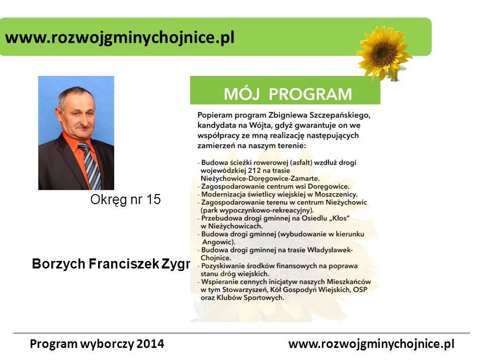 www.rozwojgminychojnice.pl Program wyborczy 2014www.rozwojgminychojnice.pl Okręg nr 15 Borzych Franciszek Zygmunt