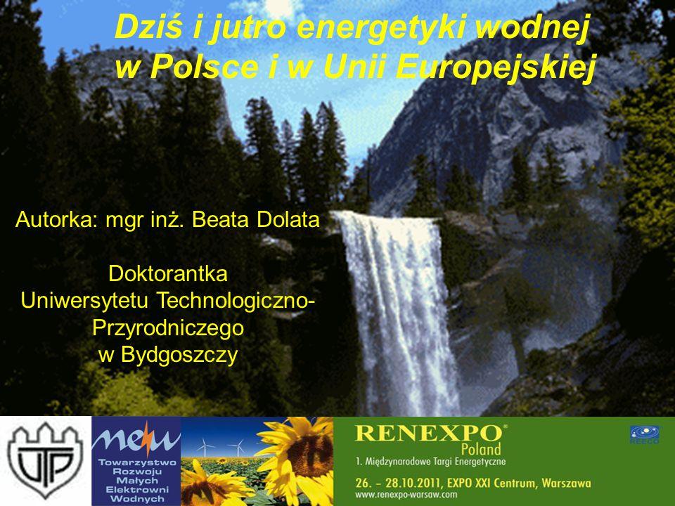 Dziś i jutro energetyki wodnej w Polsce i w Unii Europejskiej Autorka: mgr inż.