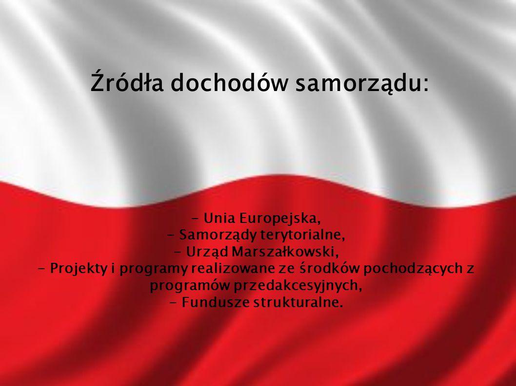 Źródła dochodów samorządu: - Unia Europejska, - Samorządy terytorialne, - Urząd Marszałkowski, - Projekty i programy realizowane ze środków pochodzących z programów przedakcesyjnych, - Fundusze strukturalne.