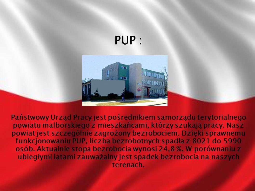 PUP : Państwowy Urząd Pracy jest pośrednikiem samorządu terytorialnego powiatu malborskiego z mieszkańcami, którzy szukają pracy. Nasz powiat jest szc