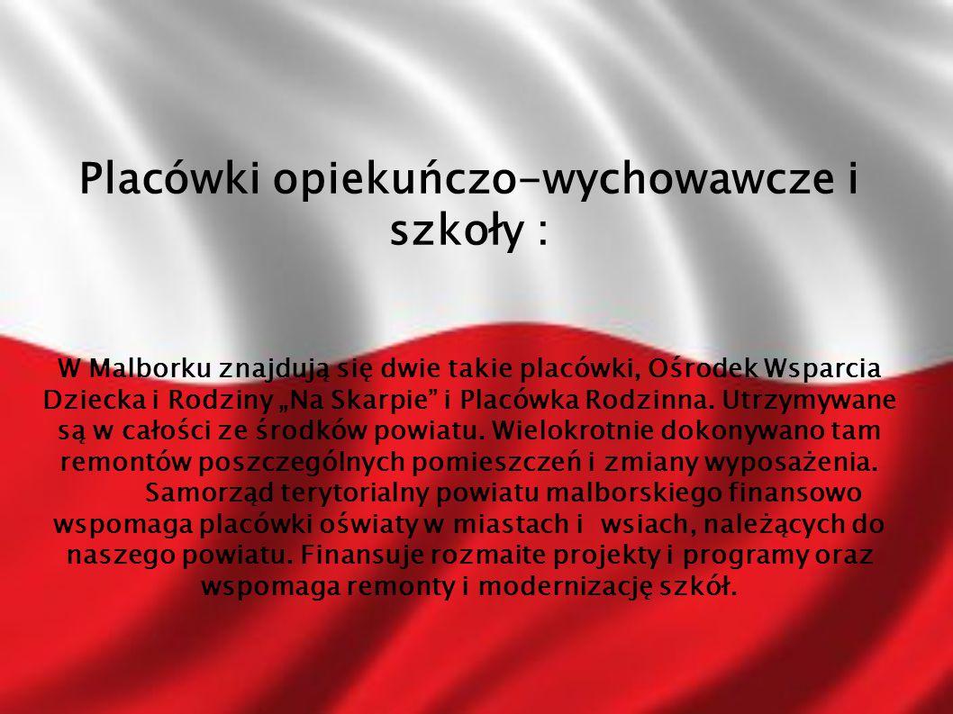 """Placówki opiekuńczo-wychowawcze i szkoły : W Malborku znajdują się dwie takie placówki, Ośrodek Wsparcia Dziecka i Rodziny """"Na Skarpie"""" i Placówka Rod"""