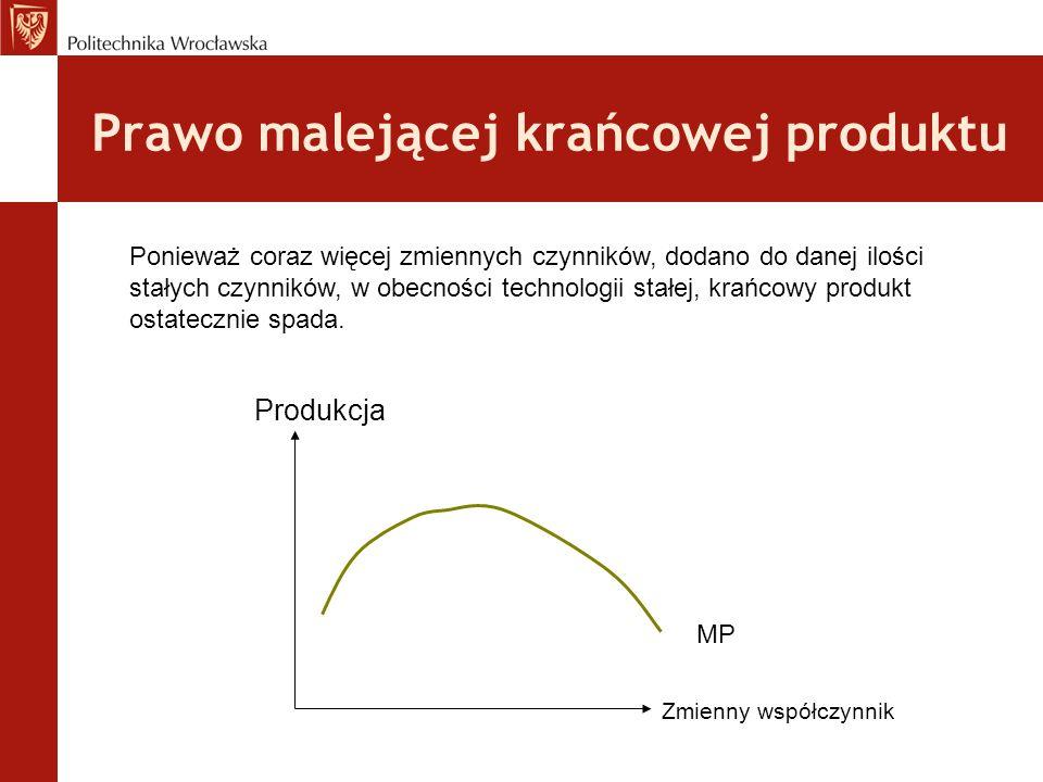 Prawo malejącej krańcowej produktu Produkcja Zmienny współczynnik MP Ponieważ coraz więcej zmiennych czynników, dodano do danej ilości stałych czynników, w obecności technologii stałej, krańcowy produkt ostatecznie spada.