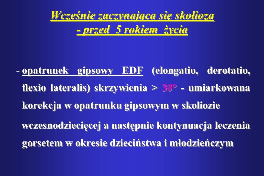 Wcześnie zaczynająca się skolioza - przed 5 rokiem życia -opatrunek gipsowy EDF (elongatio, derotatio, flexio lateralis) skrzywienia > 30° - umiarkowa