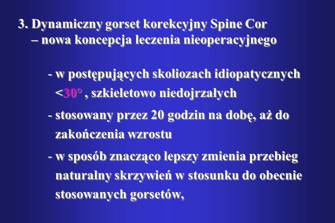 3. Dynamiczny gorset korekcyjny Spine Cor – nowa koncepcja leczenia nieoperacyjnego -w postępujących skoliozach idiopatycznych <30°, szkieletowo niedo