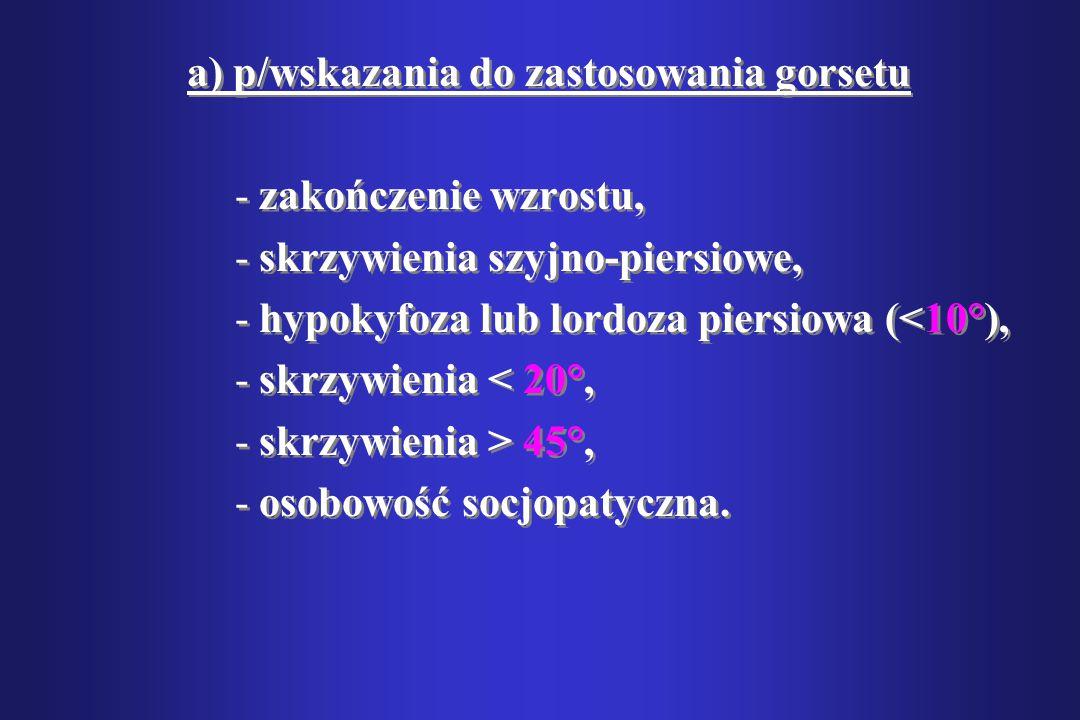 a) p/wskazania do zastosowania gorsetu -zakończenie wzrostu, -skrzywienia szyjno-piersiowe, -hypokyfoza lub lordoza piersiowa (<10°), -skrzywienia < 2