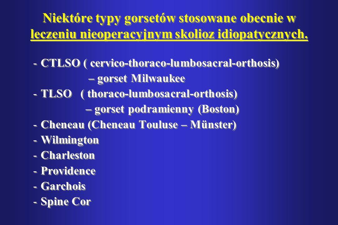 Niektóre typy gorsetów stosowane obecnie w leczeniu nieoperacyjnym skolioz idiopatycznych. -CTLSO ( cervico-thoraco-lumbosacral-orthosis) – gorset Mil