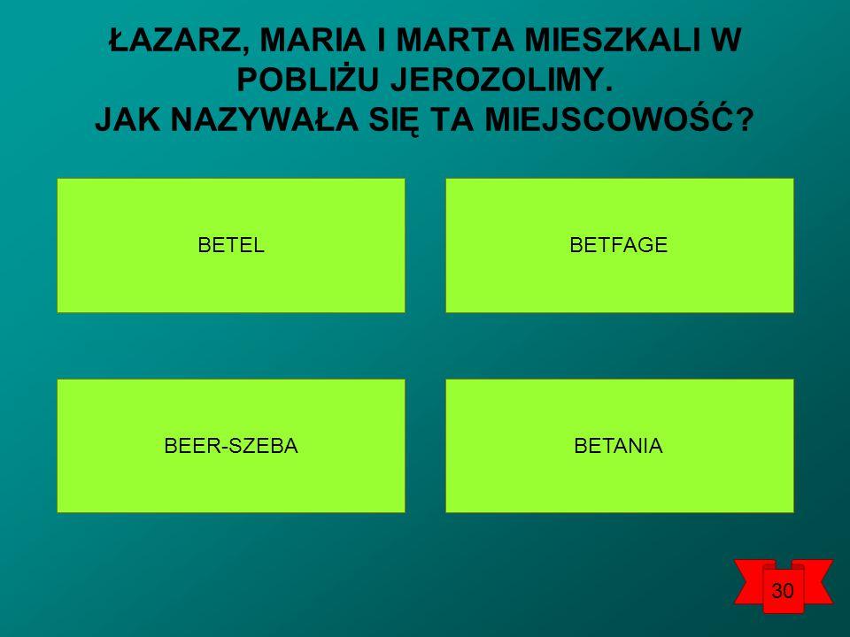 BETEL BETANIA BEER-SZEBA BETFAGE ŁAZARZ, MARIA I MARTA MIESZKALI W POBLIŻU JEROZOLIMY.
