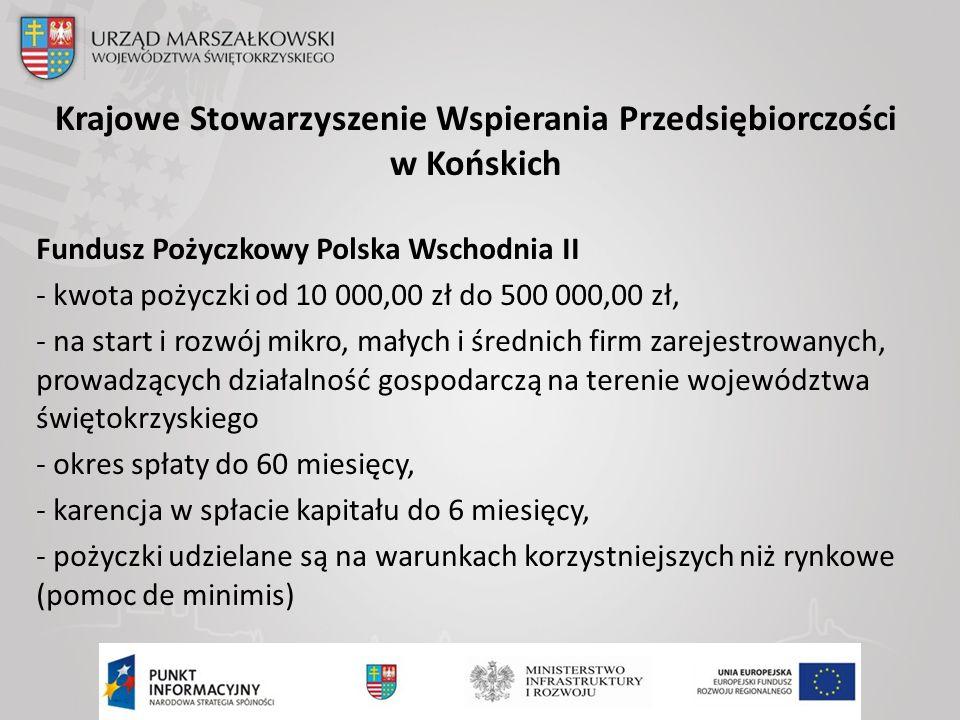 Krajowe Stowarzyszenie Wspierania Przedsiębiorczości w Końskich Fundusz Pożyczkowy Polska Wschodnia II - kwota pożyczki od 10 000,00 zł do 500 000,00 zł, - na start i rozwój mikro, małych i średnich firm zarejestrowanych, prowadzących działalność gospodarczą na terenie województwa świętokrzyskiego - okres spłaty do 60 miesięcy, - karencja w spłacie kapitału do 6 miesięcy, - pożyczki udzielane są na warunkach korzystniejszych niż rynkowe (pomoc de minimis)