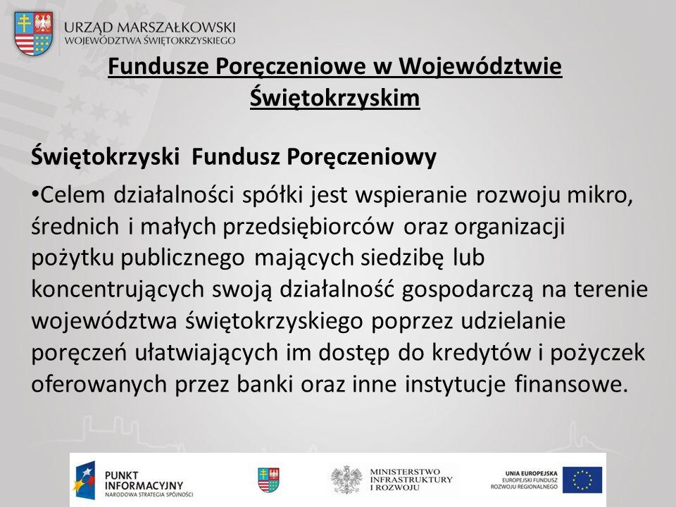 Fundusze Poręczeniowe w Województwie Świętokrzyskim Świętokrzyski Fundusz Poręczeniowy Celem działalności spółki jest wspieranie rozwoju mikro, średnich i małych przedsiębiorców oraz organizacji pożytku publicznego mających siedzibę lub koncentrujących swoją działalność gospodarczą na terenie województwa świętokrzyskiego poprzez udzielanie poręczeń ułatwiających im dostęp do kredytów i pożyczek oferowanych przez banki oraz inne instytucje finansowe.