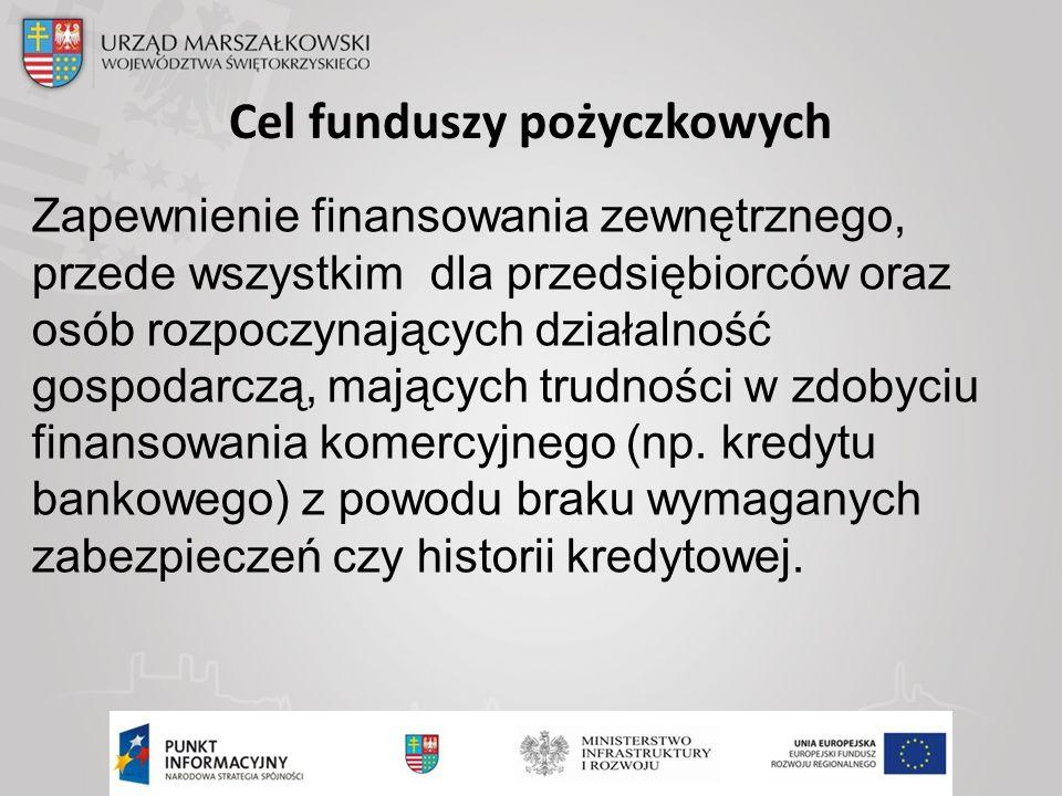 Cel funduszy pożyczkowych Zapewnienie finansowania zewnętrznego, przede wszystkim dla przedsiębiorców oraz osób rozpoczynających działalność gospodarczą, mających trudności w zdobyciu finansowania komercyjnego (np.