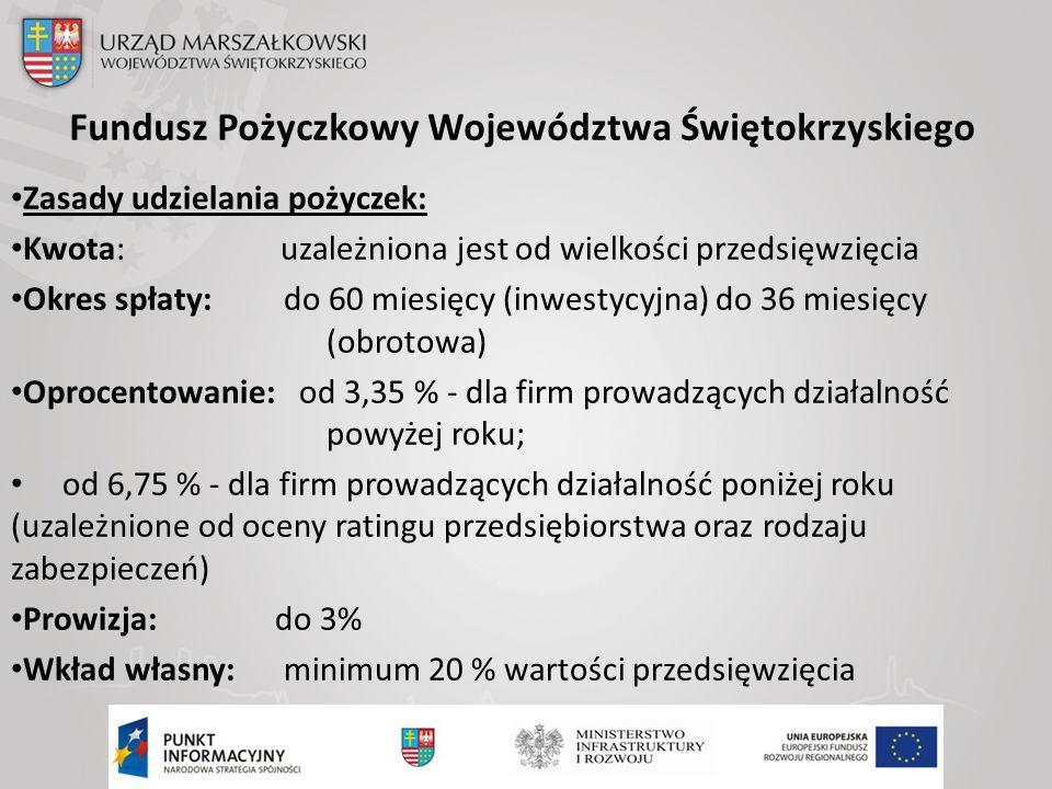 Fundusz Pożyczkowy Województwa Świętokrzyskiego Zasady udzielania pożyczek: Kwota: uzależniona jest od wielkości przedsięwzięcia Okres spłaty: do 60 miesięcy (inwestycyjna) do 36 miesięcy (obrotowa) Oprocentowanie: od 3,35 % - dla firm prowadzących działalność powyżej roku; od 6,75 % - dla firm prowadzących działalność poniżej roku (uzależnione od oceny ratingu przedsiębiorstwa oraz rodzaju zabezpieczeń) Prowizja: do 3% Wkład własny: minimum 20 % wartości przedsięwzięcia