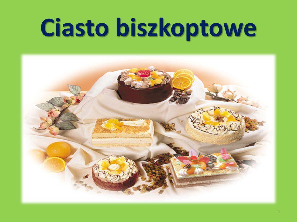 Charakterystyka ciasta biszkoptowego Ciasto biszkoptowe cechuje: puszystość lekkość porowatość elastyczność 2