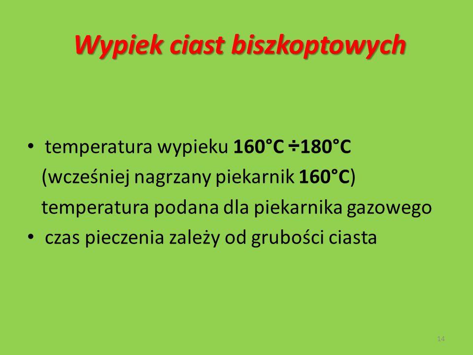 Wypiek ciast biszkoptowych temperatura wypieku 160°C ÷ 180°C (wcześniej nagrzany piekarnik 160°C) temperatura podana dla piekarnika gazowego czas piec