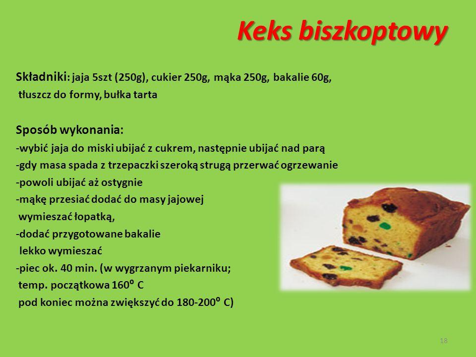 Rolada czekoladowa Składniki na ciasto : 5 rozdzielonych jaj, cukier 100g, mąka pszenna 125 g Składniki na krem czekoladowy: 1/2 szklanki gorzkiej czekolady, 2/3 szklanki śmietanki 36% Sposób przygotowania: - z białek ubić sztywną pianę, dodawać po łyżce cukru stale ubijając -do ubitej piany dodawać po 1 żółtku i resztę cukru -ubijać do uzyskania puszystej spadającej płatami masy -do masy dodać przesianą mąkę lekko mieszając łopatką -ciasto wylać na blachę i równomiernie rozprowadzić na grubość 0,5-1 cm, piec ok.